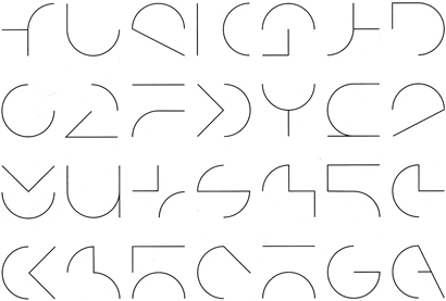 """Elementary letterforms and signs composed of vertical, horizontal, slanted and curvilinear strokes."" Detail from Typography: Formation + Transformation by Willi Kunz."