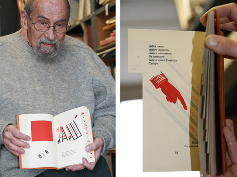 (left) Irving Oaklander, proprietor of Oaklander Books in New York City, on December 23, 2010. Irving holds a rare copy of Vladimir Mayakovsky's 1923 book For the Voice (Dlia Golosa) which was designed by El Lissitsky. (right) Angie holds a page of For the Voice up to the light to reveal the compositional correspondence between pages 17 and 18.