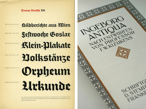 (left) A page from the Trump-Deutsch specimen book. (right) The title page from the Ingeborg Antiqua specimen book.