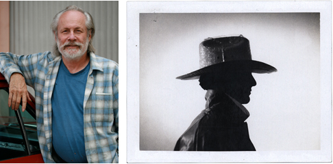 (left) Jeff Wasserman outside his studio in Santa Monica, 2009. (right) Mark Fox photographed by Michael Schwab for one of Michael's posters, 1986.